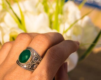 Green Onyx Ring, Natural Green Onyx Gemstone Ring, Pure 925 Sterling Silver Ring, Healing Ring, Boho Ring, Onyx Jewelry, Green Stone Ring