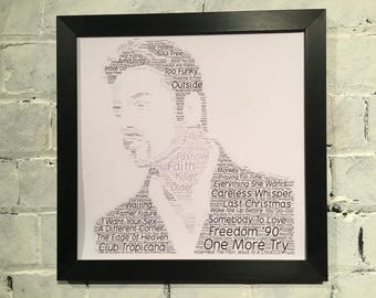 George Michael word cloud containing the names of Top 20 hits and album tracks in black or silver polcore, solid oak wood frame. Great gift.