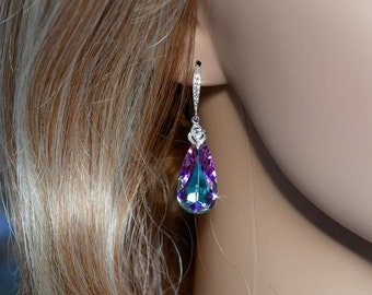 Handmade Swarovski Lavender Vitrail Light Crystal Dangle Earrings, Bridal, Earrings (Sparkle-1917)