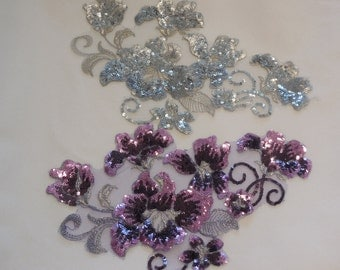 Silver Or lilac purple sequined lace applique / floral sequins lace motif is for sale. Sold by per piece