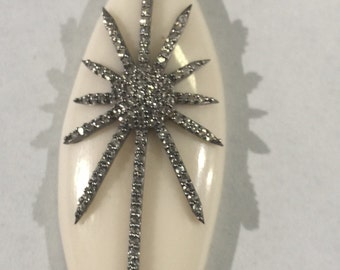 bone pave white topaz sterling silver pendant