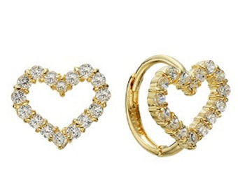 14k Solid Yellow Gold Hoop Earrings Arinu 6764 Charming Heart Design Lovely