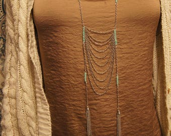 Long Silver Turquoise Blue Beaded Hanging Chain Necklace With Silver Tassels