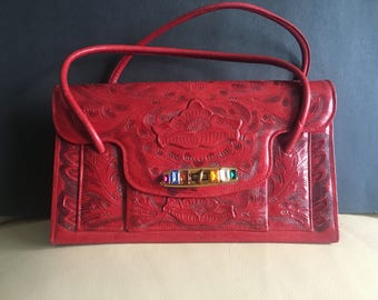 Mexican hand tooled vintage leather handbag, rare and red!