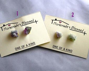 Rainbow Flourite Stud Earrings