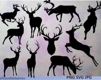 Christmas Clip Art, Reindeer Clipart, Reindeer silhouette svg, png, pdf, Instant download