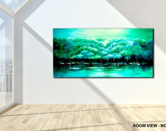 "ORIGINAL LANDSCAPE PAINTING abstract  47"" textured landscape/forest, Turquoise, Green, canvas"