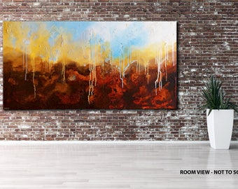 "47"" LARGE, Original ABSTRACT Textured PAINTING, canvas, Wall Art, Modern, Contemporary, Brown, Yellow, White, Blue"