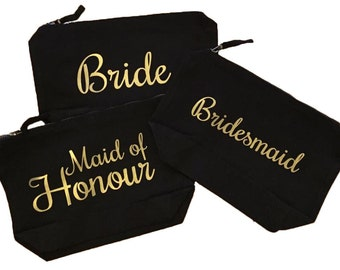 Make Up Bag black, Wedding, Bride, Bridesmaid, Maid of Honour, Gift, Bag, Travel, cosmetic bag