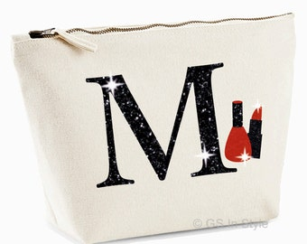 Personalised small make up bag with any letter