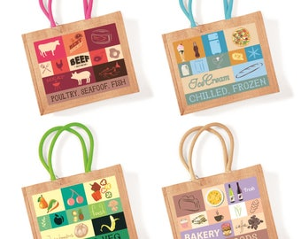 Custom reusable categories grocery shopping jute bags