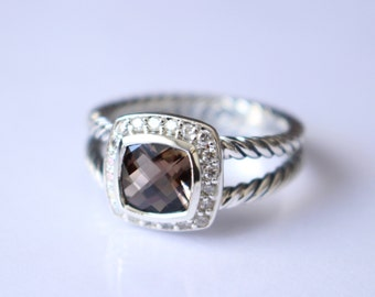 used david yurman albion ring with smoky quartz and diamonds size 8