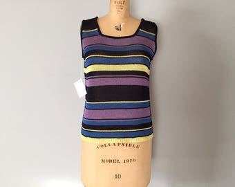 SALE...knitted crop top   1990s striped knitted top
