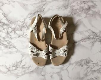 SALE...chalk white leather sandals | cut out buckle sandals | 9.5