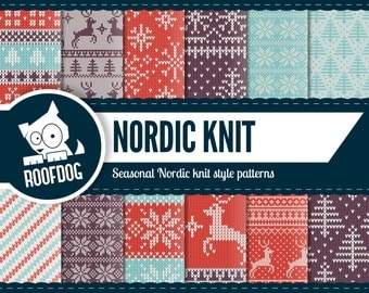 Knit digital paper | Christmas sweater pattern | nordic knit paper pack instant download | ugly sweater winter wool knit snowflake pattern