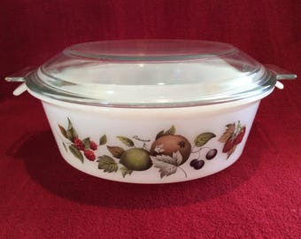 Phoenix Opalware Mixed Fruits Pattern Casserole Dish 3 pint circa 1960