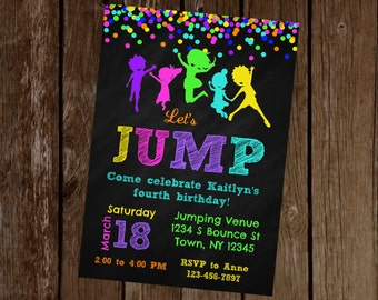 Jump Birthday Invitation, Jump Party Invitation, Trampoline Birthday Invitation, Trampoline Party Invitation, Printable Invitation
