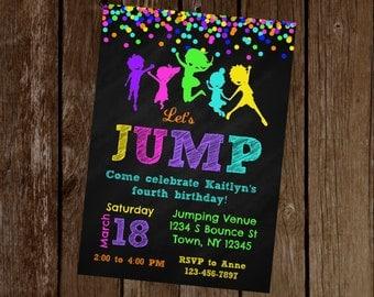 Jump Birthday Invitation, Jump Party Invitation, Trampoline Birthday Invitation, Trampoline Party Invitation, Printable Invitation