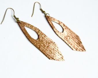 Genuine Leather Earrings: Copper/Rose Gold Ponderosa Fringe Leather Earrings