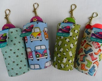 Fabric Water Bottle Bag, Clip on, with Sistema 330ml Bottle.