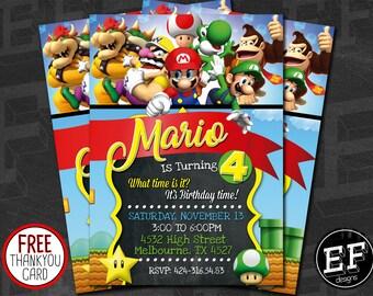 SUPER MARIO INVITATION, Super Mario Brother Invitation,Super Mario Brothers Birthday Invitation, Super Mario Bros Birthday