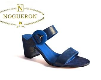MARINA OCEAN HEEL -  Heeled sandals, womens shoes, leather, pink color, glitter, Spring Summer, Nogueron