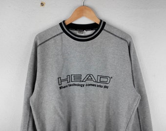 RARE!!! Head Big Logo Embroidery Crew Neck Grey Colour Sweatshirts Hip Hop Swag M Size