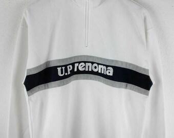 RARE!!! U.P Renoma Big Logo Embroidery SpellOut Half Zipper White Colour Sweatshirts Hip Hop Swag L Size