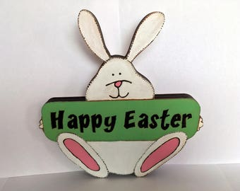 """Cute """"Happy Easter"""" Bunny Wooden Standing Decoration"""