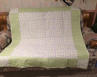 Striped Quilt - Green, purple, yellow