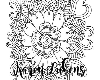 Super Bloom, 1 Adult Coloring Book Page, Printable Instant Download.
