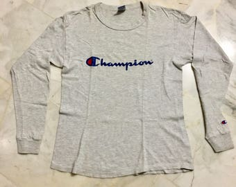Champion Long Sleeve T-Shirt Size M Heather Grey Made in USA Vintage 90's