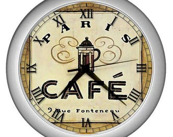 Wall clock Cafe paris  vintage image Kitchen Wall  decor Cafe wall decor