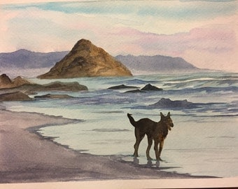 Walk on the beach- watercolor painting