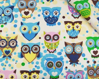 Owls Cotton Fabric Birds Fabric Blue Fabric For Sewing Fabric For Quilting