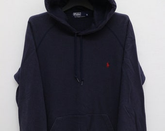 Vintage Polo By Ralph Lauren Blue Sweatshirt Hooded Sweater Size XL