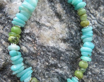 Refreshing Amazon Stone combined with Chrysoprase and 925 Silver