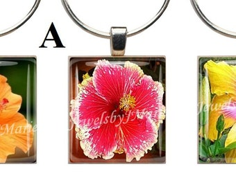 HIBISCUS & PLUMARIA ~ Scrabble Tile Wine Glass Charms ~ Set of 3 Stemware Charms/Markers/Pendants ~ Toast Your Celebration with Style!