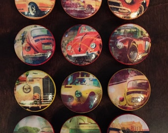1.5 inch vintage classic cars cabinet knobs drawer pulls Volkswagen Beetle Shelby Cobra GT Rolls Royce Porsche 911