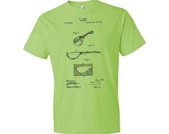 Mandolin T-Shirt Patent Art Gift, Mandolin Patent, Mandolin Design, Mandolin Gift, Mandolin Player, Musician Gift, Music Gift, Guitar Gift