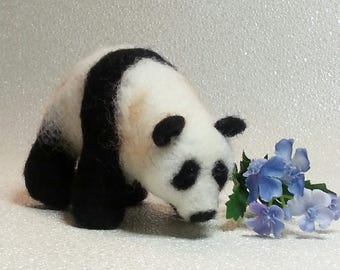 Panda bear, Panda, needle felted, wool sculpture, Mother's Day gift,  needle felted miniature, giant panda