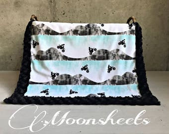 Motocross Minky Baby Blanket - Motorcycle Minky Blanket - Bike Minky Baby Blanket - Toddler Blanket