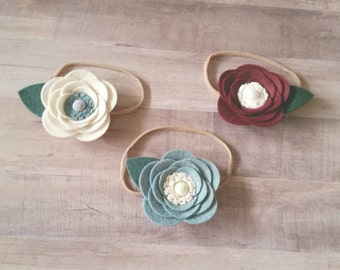 Felt Flower Headband, Felt Flower Hair Clip, CUSTOM COLORS or Maker's Choice