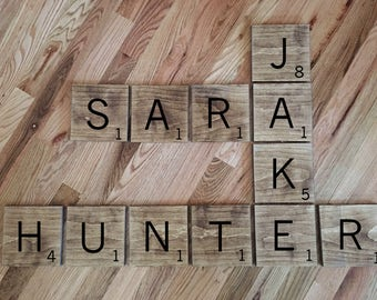 Large scrabble tiles- Scrabble wall Tiles - Large Scrabble Letters - Scrabble wall art - Scrabble letters - Custom Scrabble First Name Tiles