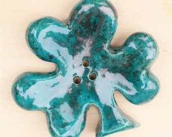 Ceramic soap dish/handmade soap dish/ turquoise Shamrock 3/ ideal for modern bathroom/ original gift for her/perfect gift