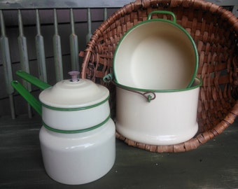 Green and cream enamel ware