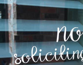 No soliciting decal, No solicitation sign, No soliciting sticker, No soliciting vinyl, Front door decal, No soliciting door sign, No solicit