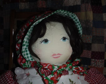 Life Size Rag Doll, She is the Size of a Size 6 Little Girl,Stuffed Muslin Body,Painted Face, Wig Hair, Prairie Style Dress,Apron and Bonnet