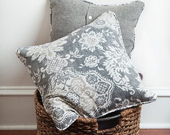 Grey Floral Pillow Cover, Gray White, Pillow Cover, Gray Decor, Neutral Decor, Neutral Pillow Cover, Neutral Pillow, Floral Pillow