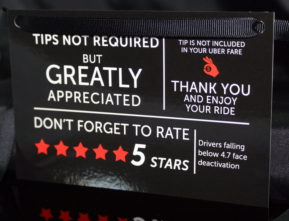 Uber Tips And Rating Sign For Uber Drivers Rideshare 5 Stars